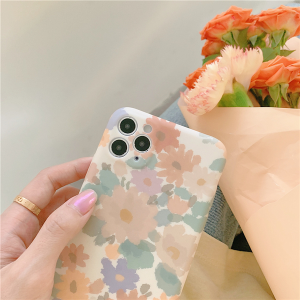 復古水彩雛菊花 適用 iPhone12Pro 11 Max Mini Xr X Xs 7 8 plus 蘋果手機殼
