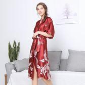 仿真絲性感睡衣女夏季新款中袖絲綢睡袍家居服《小師妹》yf659
