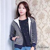 Victoria 繡標條紋連帽休閒外套-女-藍底白條