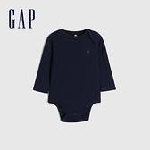 Gap嬰兒 棉質舒適小熊長袖包屁衣 663820-海軍藍