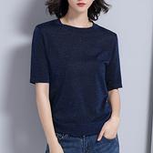 短袖針織衫-亮絲修身經典圓領女T恤3色73xi12【巴黎精品】