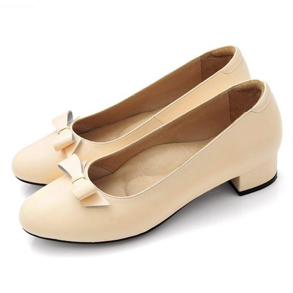 全真皮蝴蝶結粗低跟包鞋-粉橘‧karine(MIT台灣製)