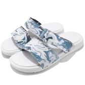 Nike 拖鞋 Wmns Benassi Duo Ultra Slide 白 藍 特殊花紋 雙帶 女鞋 涼鞋 GD【PUMP306】 819717-002