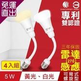 TOYAMA特亞馬 LED雷達感應燈5W E27彎管式螺旋型4入組 白光、黃光任選【免運直出】
