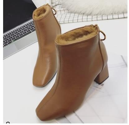小鄧子方頭粗跟短靴子加絨高跟鞋女冬季2017新款韓版百搭皮面兔毛雪地靴