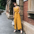 VK精品服飾 韓國風吊帶連身褲高腰顯瘦一字領套裝無袖褲裝