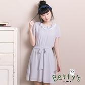 betty's貝蒂思 甜美荷葉領收腰雪紡洋裝(淺綠)