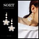 「預購」耳環 與明星同款韓國白色蕾絲布藝...