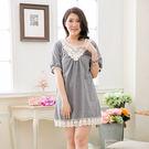 洋裝-日系領蕾絲下擺袖口蕾絲洋裝(邑)-大尺碼-獨具衣格
