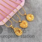 項鍊/女桃心形鏤空吊墜 鍍金飾品「歐洲站」