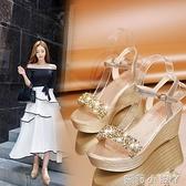 2021夏季新款高跟坡跟涼鞋女防水臺平底水鉆超高跟厚底松糕女鞋子 蘿莉新品