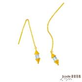 J'code真愛密碼 向左向右黃金/水晶耳環