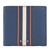 茱麗葉精品【全新現貨】BALLY 6232186 BRASAI 撞色條紋防刮牛皮8卡短夾.藍/橘