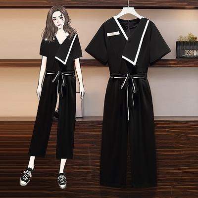 連身褲L-4XL大碼女裝胖妹妹mm氣質法式連體褲夏裝遮肚顯瘦褲裝4F119韓衣裳