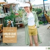 《AB12112-》涼感直條紋襯衫罩衫外套洋裝上衣 OB嚴選
