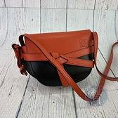 BRAND楓月 LOEWE 羅意威 熱門款 331.54.U62 黑色拼橘紅色 GATE MINI 斜背包