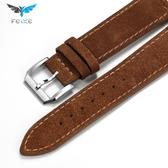 飛克原裝男女士手表DW皮帶磨砂牛皮蝴蝶扣代用配件表鍊20mm