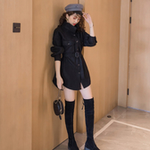 VK精品服飾 韓國風時尚純色襯衫收腰修身配腰帶長袖洋裝