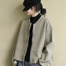 純棉外套 立領拼接夾克 純色長袖短外套/2色-夢想家-0103