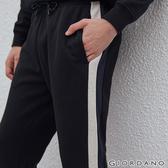 【GIORDANO】 男裝G-MOTION線條鬆緊腰抽繩運動長褲-09 標誌黑