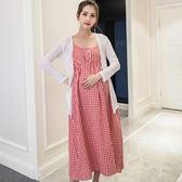 孕婦夏裝套裝時尚款格子吊帶裝上衣孕婦裙兩件套連身裙【全館滿千折百】