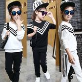 兒童中大童女童運動休閒條紋長袖上衣+長褲2件套裝。多色入