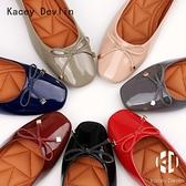 平底鞋 蝴蝶結裝飾舒適鹿皮內里方頭女鞋子【Kacey Devlin 】