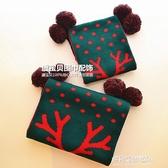 兒童保暖圍巾-可愛卡通小鹿紅綠色毛線冬季親子兒童圣誕圍巾男女寶寶新年禮物  喵喵物語
