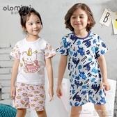 OLOMIMI韓國兒童家居服夏季男女寶寶短袖竹節棉中小童純棉T桖薄款(聖誕新品)