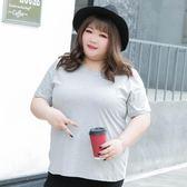 大碼女裝 夏裝胖mm200斤加大碼圓領短袖彈力打底衫純棉t恤
