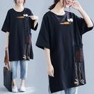 中大尺碼T恤 大碼女裝夏季新款上衣短袖韓版胖mm前面繡花中長款T恤裙子顯瘦潮