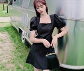 洋裝連身裙S-XL方領赫本風小黑裙法式複古連衣裙收腰泡泡袖氣質裙子NA02D.3593一號公館