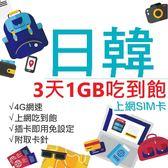 日本 韓國 日韓通用 3天1GB吃到飽網卡 4G網速 免設定 免開卡 隨插即用 上網 上網卡 網路 網路卡