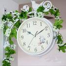 雙面掛鍾小鳥站枝頭鐵藝雙面鐘韓式雙面掛鐘時鐘鐘錶白色
