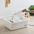碗筷餐具收納盒碗櫃小廚房瀝水碗架帶蓋塑料碗碟架放碗盤子收納箱 WD 一米陽光