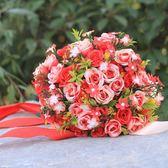 新娘結婚高檔紅玫瑰花手捧花大花束婚禮手捧花球仿真茶花攝影道具 初見居家