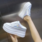 內增高包頭半拖鞋女外穿2020秋季新款厚底鬆糕半托單鞋爆款小白鞋 智慧e家