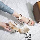 小清新高跟鞋夏季粗跟2019新款百搭韓版蝴蝶結一字扣女士涼鞋仙女 森活雜貨