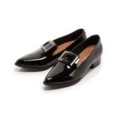 【Fair Lady】歐美尖頭方釦漆皮低跟樂福鞋 黑