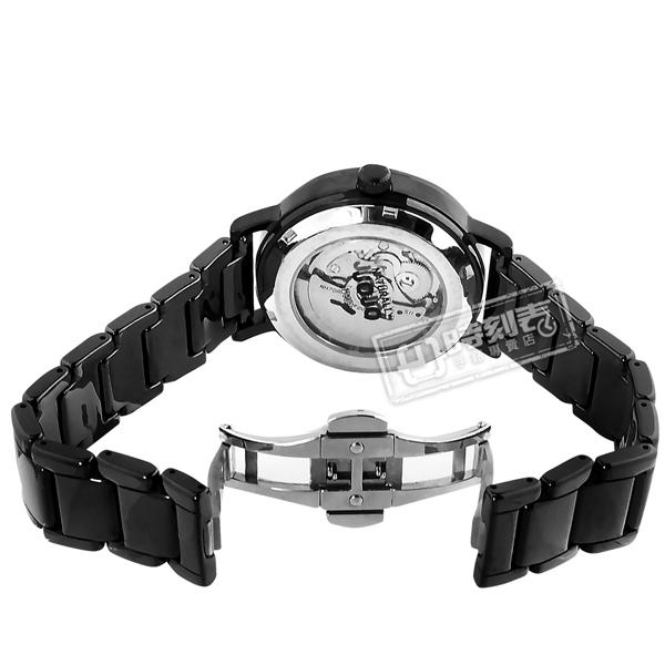 NATURALLY JOJO 贈錶帶 / JO96960-88F / 機械錶 自動上鍊 鏤空 藍寶石水晶玻璃 陶瓷手錶 黑色 40mm