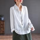 銅氨絲單排扣翻領襯衫 純色直筒長袖白襯衫/3色-夢想家-0922