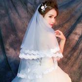 新娘婚紗頭紗韓式蕾絲花邊長頭紗1.5米長頭紗結婚長款婚紗配第七公社