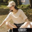 100%純棉短袖t恤女夏季2021年新款假兩件韓版寬鬆半袖ins潮上衣服 街頭布衣
