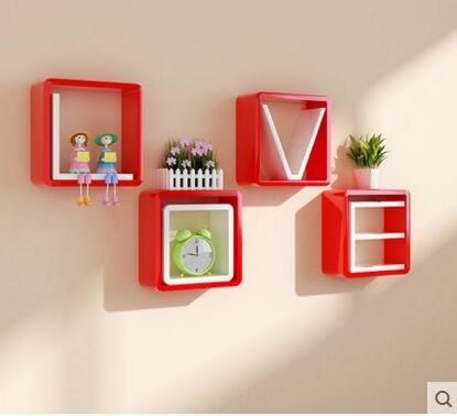 新房LOVE擱板牆上置物架電視背景牆裝飾框壁掛創意格子隔板臥室