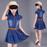 女童牛仔裙 兒童裝夏天女童短袖牛仔裙LJ8718『miss洛羽』