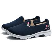 SKECHERS 休閒鞋 GO WAILK 5 白底 深藍 刺繡花卉 輕量 女 (布魯克林) 124002WNVW