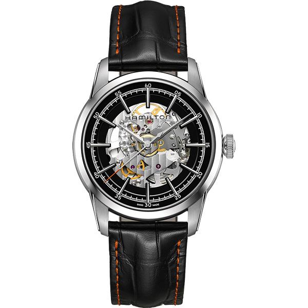 Hamilton 漢米爾頓 AMERICAN CLASSIC鐵路系列鏤空機械腕錶-黑/42mm H40655731