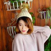 帽子女 針織帽 親子成人款純色卷邊仿毛球針織保暖抽條糖果帽毛線帽【多多鞋包店】yp53