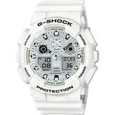 CASIO 卡西歐 G-SHOCK GA-100 人氣雙顯手錶-白 GA-100MW-7ADR / GA-100MW-7A