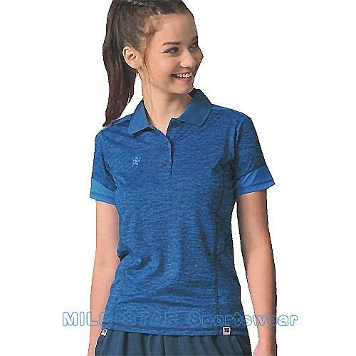 MILD STAR 女版吸濕排汗短POLO衫-LS180777-寶藍麻花